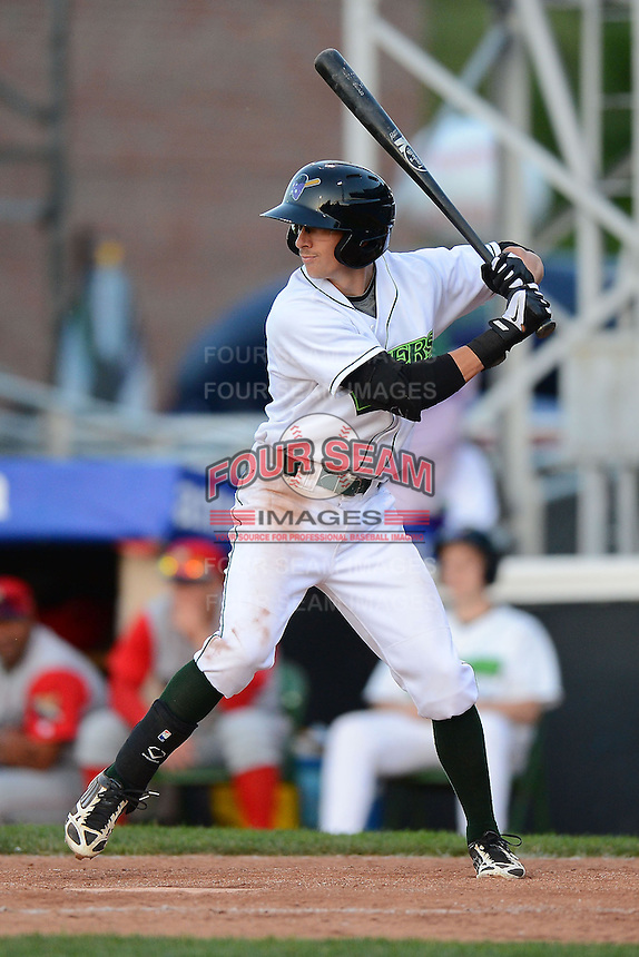 Jamestown Jammers shortstop Michael Fransoso #8 during a game against the Williamsport Crosscutters on June 20, 2013 at Russell Diethrick Park in Jamestown, New York.  Jamestown defeated Williamsport 12-6.  (Mike Janes/Four Seam Images)