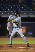 Surprise Saguaros Brewer Hicklen (23), of the Kansas City Royals organization, at bat during an Arizona Fall League game against the Peoria Javelinas on September 22, 2019 at Peoria Sports Complex in Peoria, Arizona. Surprise defeated Peoria 2-1. (Zachary Lucy/Four Seam Images)