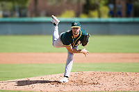 Oakland Athletics relief pitcher Brandon Withers (71) follows through on his delivery during an Instructional League game against the Los Angeles Dodgers at Camelback Ranch on October 4, 2018 in Glendale, Arizona. (Zachary Lucy/Four Seam Images)
