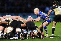 Peter Stringer of Sale Sharks looks to put the ball into a scrum. European Rugby Challenge Cup quarter final, between Sale Sharks and Montpellier on April 8, 2016 at the AJ Bell Stadium in Manchester, England. Photo by: Patrick Khachfe / JMP