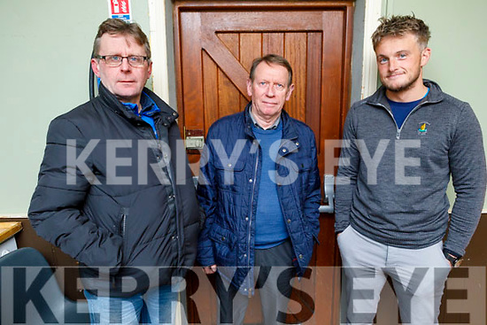 Jermiah Clifford and Pat Riordan (St Brendans) and Giles O'Grady (Ballyduff) attending the North Kerry Hurling Board AGM in Abbeydorney on Thursday.