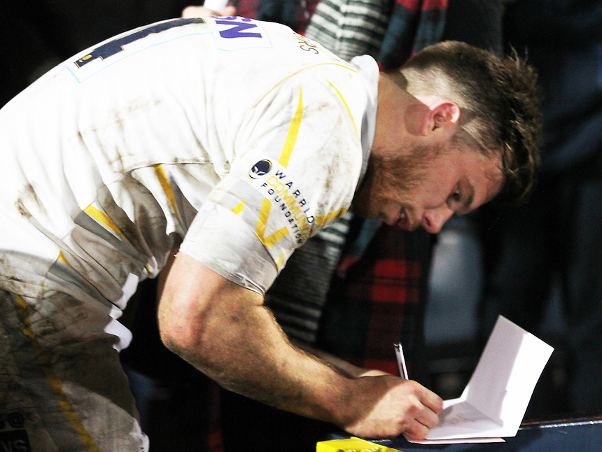 Worcester Warriors Dean Hammond signing at the end of the game<br /> <br /> Photographer Rachel Holborn/CameraSport<br /> <br /> Rugby Union - British and Irish Cup Semi Final - Worcester Warriors v Leinster A - Friday 13th March 2015 - Sixways Stadium - Worcester<br /> <br /> &copy; CameraSport - 43 Linden Ave. Countesthorpe. Leicester. England. LE8 5PG - Tel: +44 (0) 116 277 4147 - admin@camerasport.com - www.camerasport.com