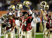 The Florida State Seminoles attempt to rally their fans prior to the start of the 2006 Orange Bowl Game.