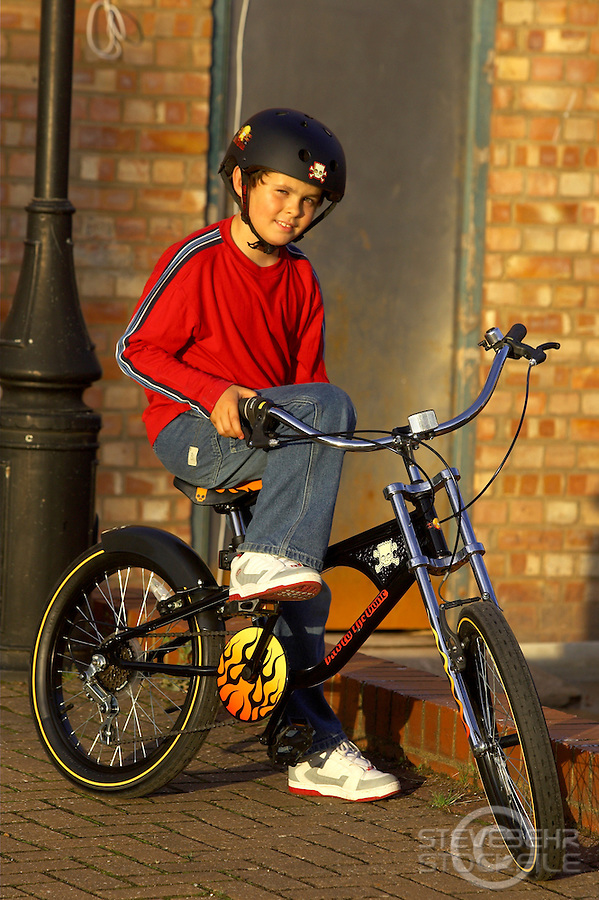 Sam Behr on chopper bicycle .Sunningdale , August 2004.pic copyright Steve Behr / Stockfile