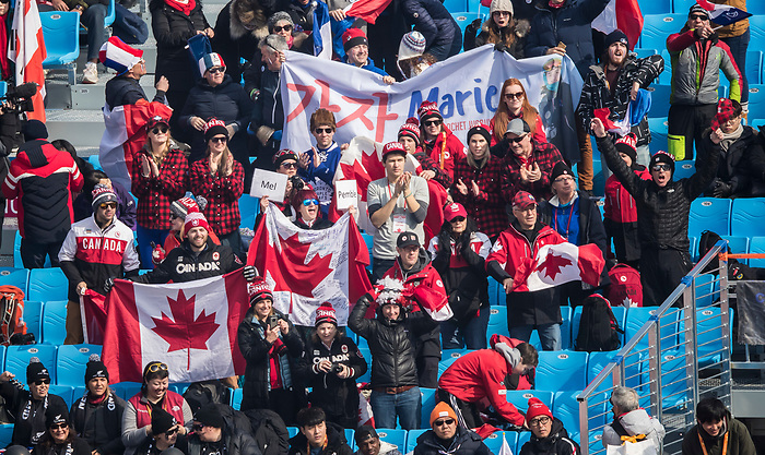 PyeongChang 10/3/2018 - Canada fans in the house during the downhill races at the Jeongseon Alpine Centre during the 2018 Winter Paralympic Games in Pyeongchang, Korea. Photo: Dave Holland/Canadian Paralympic Committee