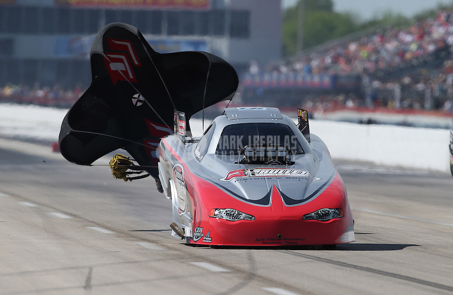 Apr. 28, 2013; Baytown, TX, USA: NHRA top alcohol funny car driver Shane Westerfield during the Spring Nationals at Royal Purple Raceway. Mandatory Credit: Mark J. Rebilas-