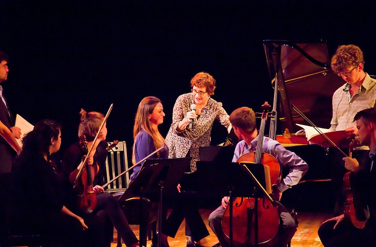 Port Townsend, Centrum, Chamber Music Workshop, June 16-21 2015, Fort Worden, Lucinda Carver and the Enso Quartet teaching, critiquing the Azalea Quartet, Alin Melik-Adamyan, piano, Fort Worden, Wheeler Theater, Washington State,