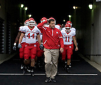 October 25, 2008: Rutgers head coach Greg Schiano (wearing jacket) leads his team out of the tunnel. The Rutgers Scarlet Knights defeated the Pitt Panthers 54-34 on October 25, 2008 at Heinz Field, Pittsburgh, Pennsylvania.