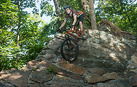 NWA Democrat-Gazette/BEN GOFF @NWABENGOFF<br /> Vincent Edwards, rides coordinator for Ozark Off Road Cyclists, rides the Coyote Cave trail Friday, July 20, 2018, at Fitzgerald Mountain in Springdale.