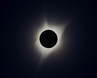 A blend of five images at totality, done in order to bring out more detail in the sun's corona during the eclipse.