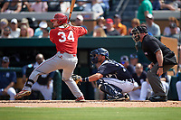 Florida Southern Moccasins Mitch Reeves (34), catcher Austin Green (71), and umpire Kevin Jones await the pitch during an exhibition game against the Detroit Tigers on February 29, 2016 at Joker Marchant Stadium in Lakeland, Florida.  Detroit defeated Florida Southern 7-2.  (Mike Janes/Four Seam Images)