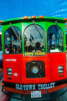 Old Town Trolley Tour bus, Old Town, San Diego, California USA.