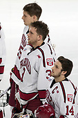Wiley Sherman (Harvard - 25), Merrick Madsen (Harvard - 31), Alexander Kerfoot (Harvard - 14) - The Harvard University Crimson defeated the Providence College Friars 3-0 in their NCAA East regional semi-final on Friday, March 24, 2017, at Dunkin' Donuts Center in Providence, Rhode Island.