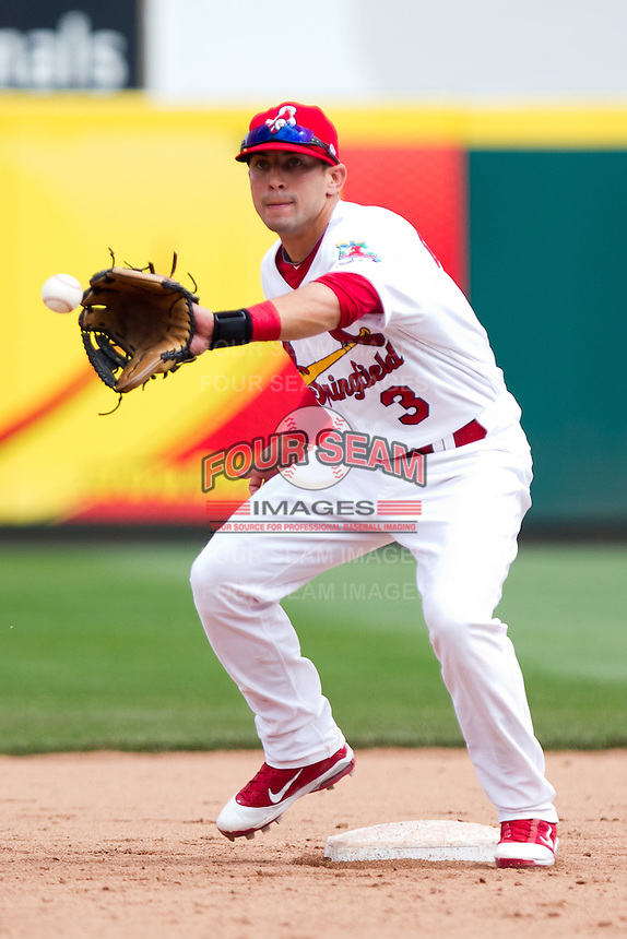 Jose Garcia (3) of the Springfield Cardinals catches a toss for the force out at second base during a game against the Midland RockHounds on April 19, 2011 at Hammons Field in Springfield, Missouri.  Photo By David Welker/Four Seam Images