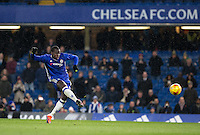 Kurt Zouma of Chelsea scores his 2nd penalty of the shootout during the The Checkatrade Trophy match between Chelsea U23 and Oxford United at Stamford Bridge, London, England on 8 November 2016. Photo by Andy Rowland.