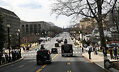 The motorcade of United States President Barack Obama is seen leaving Capitol Hill on March 13, 2013 in Washington, DC. The President met  today with the House Republican Conference..Credit: Aude Guerrucci / Pool via CNP