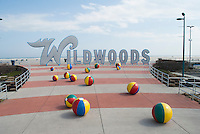 WILDWOOD, NJ - APRIL 1:   The Wildwoods sign rests in front of beach ball sculptures April 1, 2013 in Wildwood, New Jersey. The sign is a big tourist attraction on the seven mile island. (Photo by William Thomas Cain/Cain Images