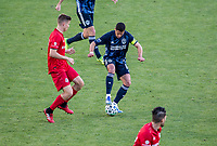 """CARSON, CA - FEBRUARY 15: Javier """"Chicharito"""" Hernandez #14 of the Los Angeles Galaxy moves with the ball during a game between Toronto FC and Los Angeles Galaxy at Dignity Health Sports Park on February 15, 2020 in Carson, California."""
