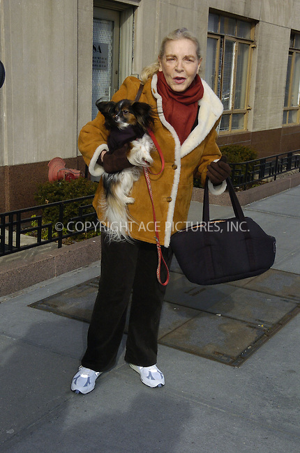 WWW.ACEPIXS.COM....January 19 2006, New York City....Actress Lauren Bacall takes her dog for a walk on the Upper West Side of Manhattan. Bacall, who is now over 80, was married to Humphrey Bogart and worked with Gary Cooper, Marilyn Munroe, Betty Grable and Paul Newman.......Please byline: PHILIP VAUGHAN/ACEPIXS.COM....For information please contact Philip Vaughan:..tel: 212 243 8787 or 646 769 0430..e-mail: info@acepixs.com..website: www.acepixs.com