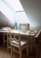 A large skylight in this attic room makes a good choice for a work room or studio