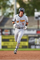 West Virginia Black Bears second baseman Kevin Mahala (5) running the bases after hitting a home run during a game against the Batavia Muckdogs on August 21, 2016 at Dwyer Stadium in Batavia, New York.  West Virginia defeated Batavia 6-5.  (Mike Janes/Four Seam Images)