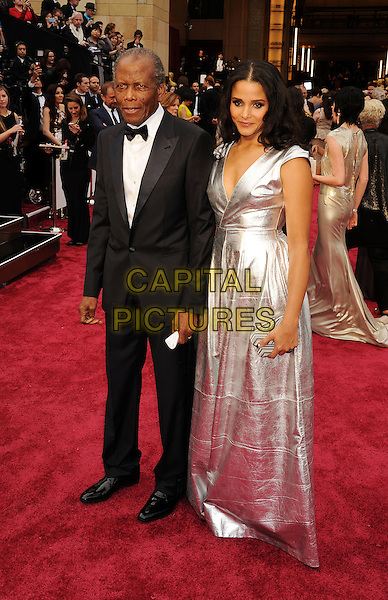 HOLLYWOOD, CA- MARCH 02: Actor Sidney Poitier (L) and daughter Sydney Tamiia Poitier attend the 86th Annual Academy Awards held at Hollywood &amp; Highland Center on March 2, 2014 in Hollywood, California.<br /> CAP/ROT/TM<br /> &copy;Tony Michaels/Roth Stock/Capital Pictures