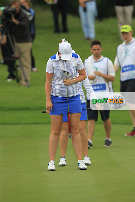 Bronte Law &amp; Olivia Mehaffey lines up a putt on the 17th during the Friday morning Foursomes of the 2016 Curtis Cup at Dun Laoghaire Golf Club on Friday 10th June 2016.<br /> Picture:  Golffile | Thos Caffrey