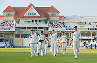 Picture by Allan McKenzie/SWpix.com - 11/09/2014 - Cricket - LV County Championship Div One - Nottinghamshire County Cricket Club v Yorkshire County Cricket Club - Trent Bridge, West Bridgford, England County Cricket Club - Yorkshire leave the field after a successful day against Nottinghamshire.