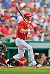 22 July 2012: Washington Nationals rookie outfielder Bryce Harper in action against the Atlanta Braves at Nationals Park in Washington, DC. The Nationals defeated the Braves 9-2 to split their 4-game weekend series. Mandatory Credit: Ed Wolfstein Photo
