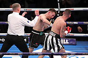 24th March 2018, O2 Arena, London, England; Matchroom Boxing, WBC Silver Heavyweight Title, Dillian Whyte versus Lucas Browne; Undercard fight between  Lewis Ritson versus Scott Cardle British Lightweight championship; Referee Bob Williams steps in and waives off the contest as Scott Cardle is in no state to continue