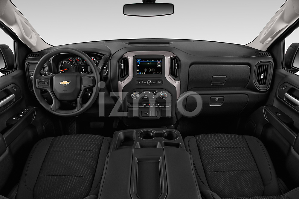 Stock photo of straight dashboard view of 2020 Chevrolet Silverado-1500 WT 4 Door Pick-up Dashboard