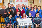Check for Stars<br /> --------------------<br /> Bikers from Moyvane and the surrounding area handed over a Cheque for 4123 euro to members of the North kerry Eagles special Olympics club from a poker run they held last August at Brosnan's bar in the village last Friday night