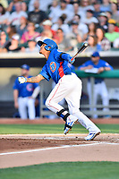 Tennessee Smokies left fielder Carlos Penalver (11) swings at a pitch during a game against the Biloxi Shuckers at Smokies Stadium on May 26, 2017 in Kodak, Tennessee. The Smokies defeated the Shuckers 3-2. (Tony Farlow/Four Seam Images)