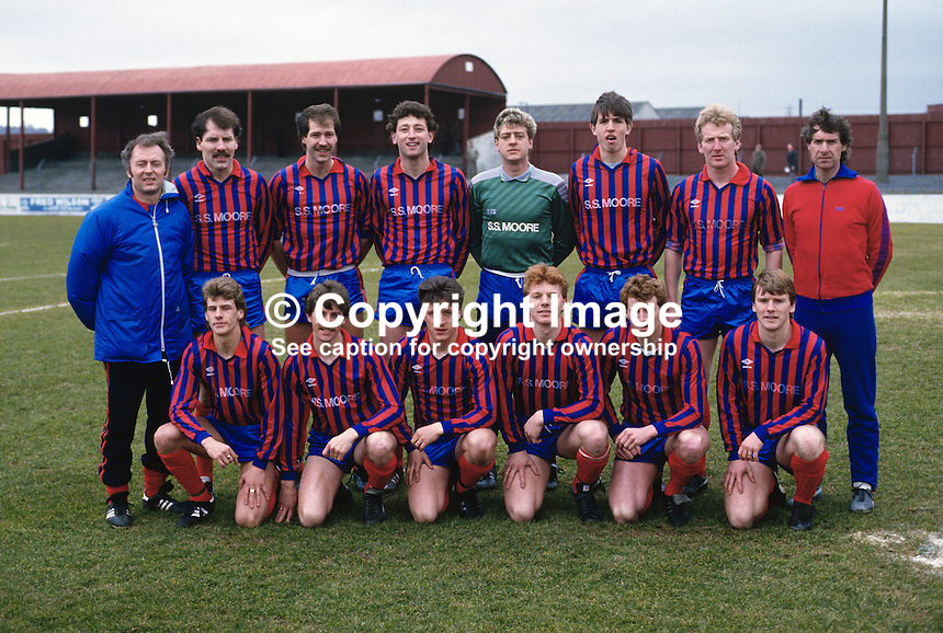 Ards FC, Newtowards, Co Down, N Ireland, 19860404..Copyright Image from Victor Patterson, 54 Dorchester Park, Belfast, UK, BT9 6RJ..Tel: +44 28 9066 1296.Mob: +44 7802 353836.Voicemail +44 20 8816 7153.Skype: victorpattersonbelfast.Email: victorpatterson@mac.com.Email: victorpatterson@ireland.com (back-up)..IMPORTANT: If you wish to use this image or any other of my images please go to www.victorpatterson.com and click on the Terms & Conditions. Then contact me by email or phone with the reference number(s) of the image(s) concerned.
