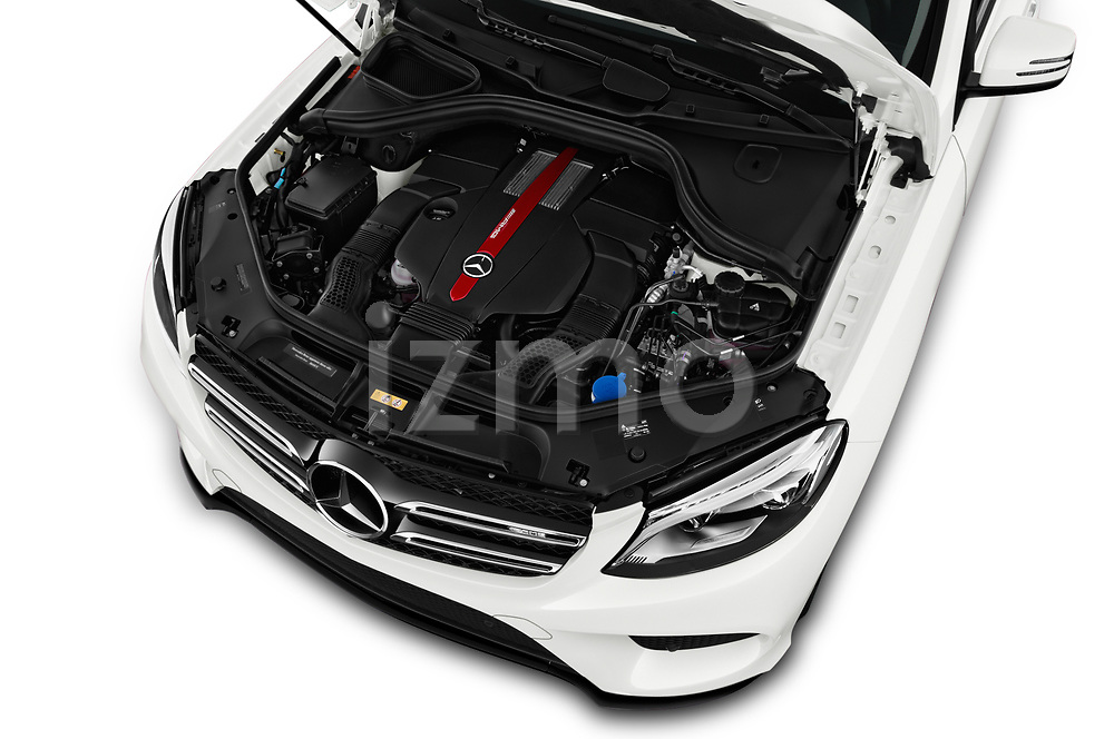 Car Stock 2018 Mercedes Benz GLE AMG-43 5 Door SUV Engine  high angle detail view