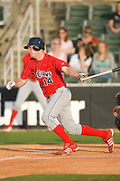 Travis Mattair #14 of the Lakewood BlueClaws follows through on his swing versus the Kannapolis Intimidators at Fieldcrest Cannon Stadium May 16, 2009 in Kannapolis, North Carolina. (Photo by Brian Westerholt / Four Seam Images)