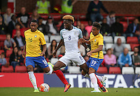 Joshua Onomah (Tottenham Hotspur) of England in action during the International match between England U20 and Brazil U20 at the Aggborough Stadium, Kidderminster, England on 4 September 2016. Photo by Andy Rowland / PRiME Media Images.