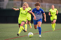 Allston, MA - Sunday, April 24, 2016: Seattle Reign FC midfielder Kim Little (8) and Boston Breakers forward Stephanie McCaffrey (9). The Boston Breakers play Seattle Reign during a regular season NSWL match at Harvard University.