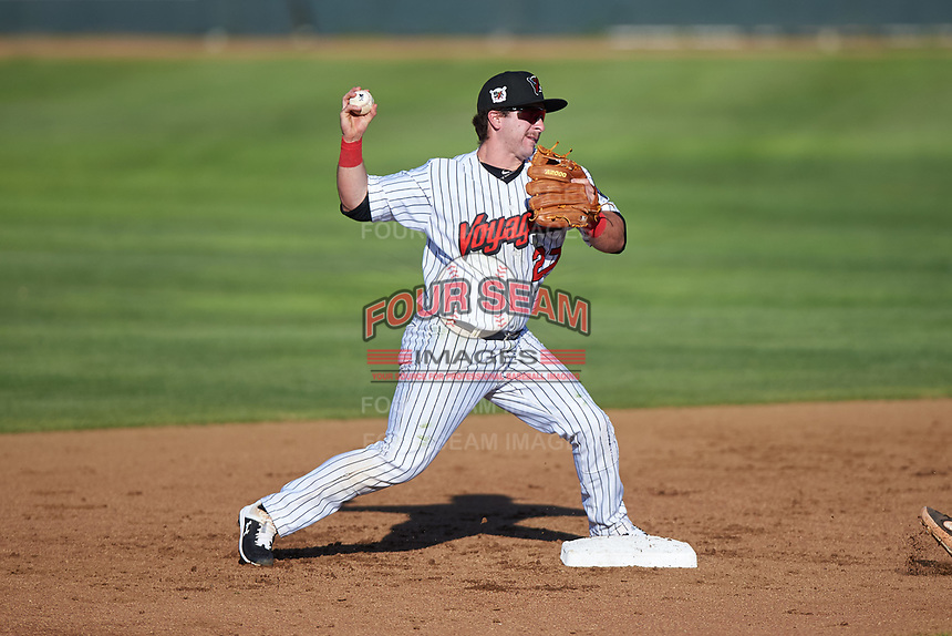 Great Falls Voyagers second baseman Tom Archer (27) throws to first base during a Pioneer League game against the Missoula Osprey at Centene Stadium at Legion Park on August 19, 2019 in Great Falls, Montana. Missoula defeated Great Falls 4-1 in the first game of a doubleheader. Games were moved from Missoula after Ogren Park at Allegiance Field, the Osprey's home field, was ruled unplayable. (Zachary Lucy/Four Seam Images)