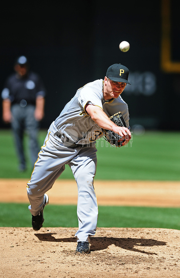 Apr. 11, 2010; Phoenix, AZ, USA; Pittsburgh Pirates pitcher Daniel McCutchen against the Arizona Diamondbacks at Chase Field. Mandatory Credit: Mark J. Rebilas-