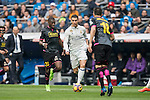 Cristiano Ronaldo of Real Madrid  fights for the ball with Papakouli Diop of RCD Espanyol and Javi Fuego of RCD Espanyol  during the match Real Madrid vs RCD Espanyol, a La Liga match at the Santiago Bernabeu Stadium on 18 February 2017 in Madrid, Spain. Photo by Diego Gonzalez Souto / Power Sport Images