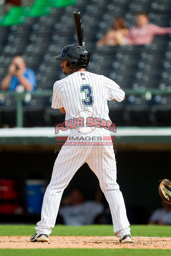 Marcus Semien (3) of the Charlotte Knights at bat against the Durham Bulls at Knights Stadium on August 18, 2013 in Fort Mill, South Carolina.  The Bulls defeated the Knights 5-1 in Game Two of a double-header.  (Brian Westerholt/Four Seam Images)