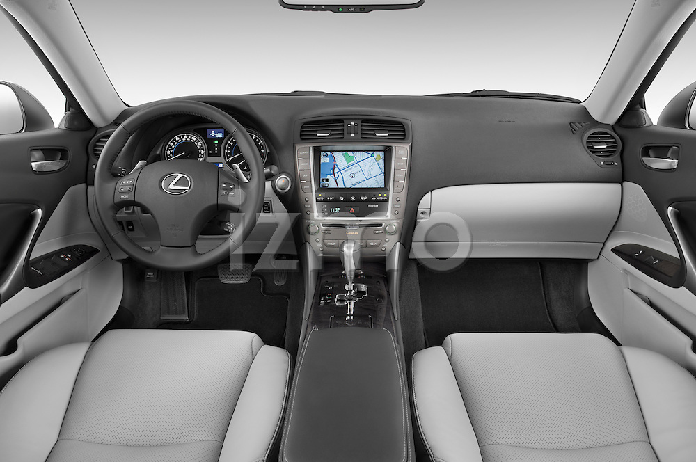 Straight dashboard view of a 2009 Lexus IS 350.
