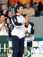 19-9-08, Netherlands, Apeldoorn, Tennis, Daviscup NL-Zuid Korea, First rubber  NamHoon Kim captain supports his player