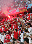 14 June 2006: Tunisia fans celebrate with a flare in the crowd. Tunisia and Saudi Arabia tied 2-2 at the Allianz Arena in Munich, Germany in match 16, a Group H first round game, of the 2006 FIFA World Cup.