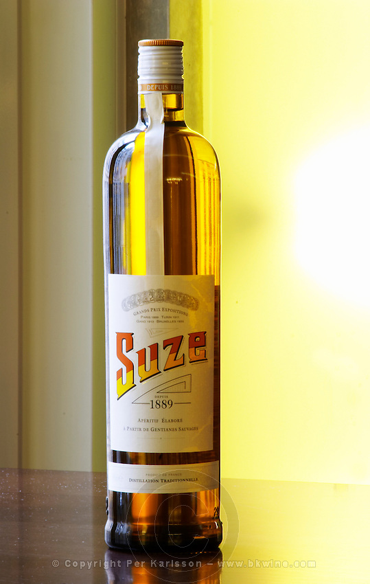 Suze aperitif alcohol drink made from wild gentiane gentian