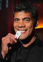 Kiwis coach Stephen Kearney with his dog tag. 2010 New Zealand Rugby League Awards at Museum Building, Buckle Street, Wellington on Thursday, 21 October 2010. Photo: Dave Lintott / lintottphoto.co.nz