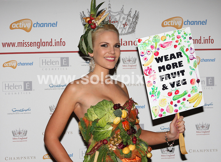 **ALL ROUND PICTURES FROM SOLARPIX.COM**                                             **WORLDWIDE SYNDICATION RIGHTS**                                                                                  Caption: Miss England models a vegetarian option of Lady Gaga's meat dress created by London designer Karen Karmody. After the debates surrounding Lady Gaga's dress this week, London designer Karen Karmody has created a Vegetable Dress leading up to London fashion week. Karen Karmody thinks the Lady Gaga dress was so revolting that she has produced an alternative for vegetarians. Miss England, law student Jessica Linley, models the dress at a pre London Fashion Week show at Movida London, UK. 16 September 2010.                                                                  This pic:  Jessica Linley                                                                                            JOB REF: 12108 MLW       DATE:  16_09_2010                                                          **MUST CREDIT SOLARPIX.COM OR DOUBLE FEE WILL BE CHARGED**                                                                      **MUST AGREE FEE BEFORE ONLINE USAGE**                               **CALL US ON: +34 952 811 768 or LOW RATE FROM UK 0844 617 7637**