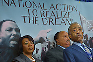 June 24, 2013  (Washington, DC)  Rev. Al Sharpton (r), Martin Luther King III (c) and bernice King during a news conference announcing the 50th anniversary March on Washington, June 25, 2013 at the National Press Club. The march, scheduled for August 24, 2013, commemorates the 1963 march led by Dr. Martin Luther King Jr.  (Photo by Don Baxter/Media Images International)