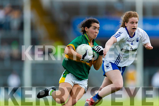 Sarah Houlihan Kerry in action against Kate McGrath Waterford in the TG4 Munster Senior Ladies Football Championship semi-final match between Kerry and Waterford at Fitzgerald Stadium in Killarney on Sunday.